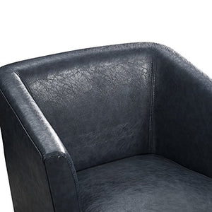 Simpli Home Longford 29 inch Wide Mid Century Modern Tub Chair in Denim Blue Bonded Leather