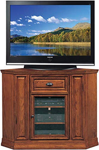 "BOWERY HILL 46"" High Corner Console TV Stand Cabinet with Storage in Medium Oak"
