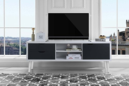 Sofamania Mid-Century Style TV Stand, Living Room Entertainment Center (White/Dark Grey)