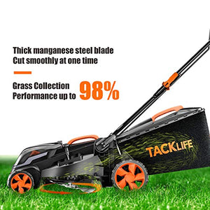 TACKLIFE Cordless Lawn Mower, 16-Inch 40V Brushless Lawn Mower, 4.0AH Battery, 6 Mowing Heights, 3 Operation Heights, 98% Clean Cutting Rate, 10.5Gal Grass Box