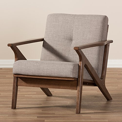 Baxton Studio Fabric Tufted Lounge Chair in Walnut and Light Gray