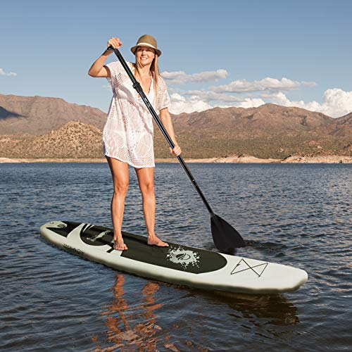 Inflatable Stand Up Paddle Board - 11' Ft. Standup Sup Paddle Board W/ Manual Air Pump, Safety Leash, Paddleboard Repair Kit, Storage / Carry Bag - Sup Paddle Board Inflatable - SereneLife SLSUPB08