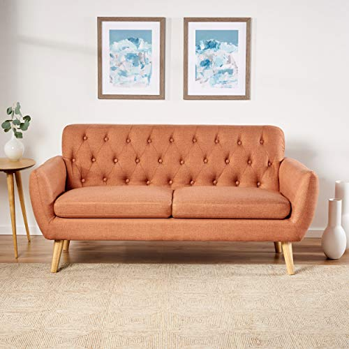 Christopher Knight Home Bernice Mid-Century Modern Tufted Fabric Sofa, Burnt Orange / Natural