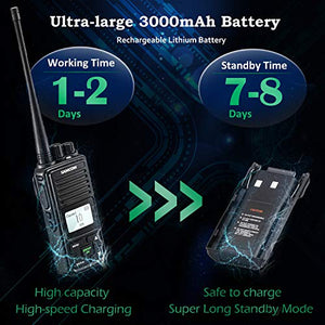 SAMCOM FPCN10A Two Way Radio Rechargeable 3000mAh Battery Business UHF Handheld Ham Walkie Talkie Long Range Radio 20 Channels/Double PTT/LCD Display/Earpieces/VOX/SCAN/Lock, 2 Packs