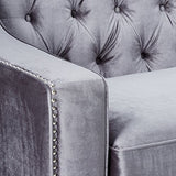 Iconic Home Grey Dylan Velvet with Silver Nail head Trim Round Acrylic Feet Sofa