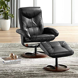 Newport Black Swivel Recliner and Slanted Ottoman