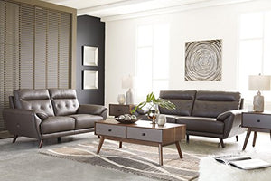 Signature Design by Ashley - Sissoko Modern Leather Loveseat, Gray