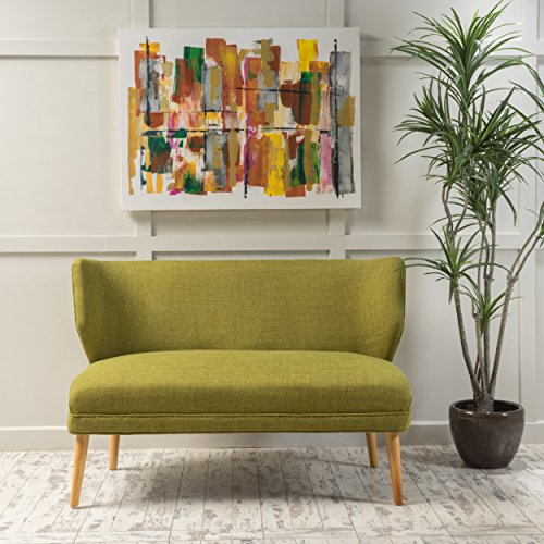 Christopher Knight Home Desdemona Mid-Century Fabric Loveseat, Green
