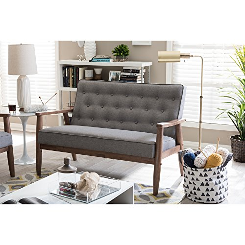 Baxton Studio Sorrento Mid-Century Retro Modern Fabric Upholstered Wooden 2-Seater Loveseat, Grey