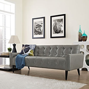 Modway Delve Luxury Button Tufted Upholstered Faux Leather Sofa In Gray