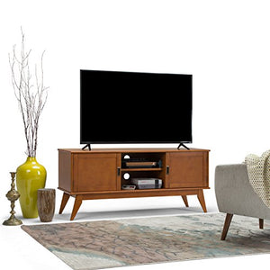 "Simpli Home Draper SOLID WOOD Universal Low TV Media Stand, 60 inch Wide, Modern Industrial, Living Room Entertainment Center, Shelves, Cabinets, for Flat Screen TVs up to 70"", Teak Brown"