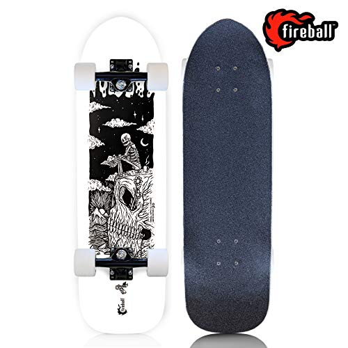 Fireball Mini Cruiser Longboard Skateboard | Eli Klemmeck Limited Edition Artist Collaboration Series Hybrid Cruiser | 29.5