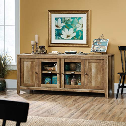 "Sauder Dakota Pass Credenza, for TVs up to 70"", Craftsman Oak Finish"