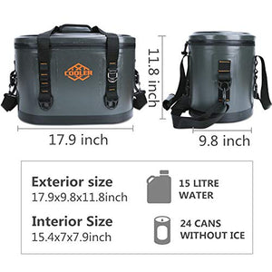 yodo CA217789-02 Oval Leak Proof Bag 24 Cans-Soft Sided Insulated Coolers with, Grey