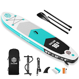 "Goosehill Inflatable Stand Up Paddle Board, Premium SUP Package, 10' Long 32"" Wide 6"" Thick, Patterns Open for Customization"