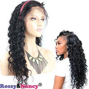 Rossy&Nancy 10A Brazilian Virgin Human Hair Full Lace Wigs Deep Wave Natural Black Hair Wig with Baby Hair for Black Women Pre Plucked Natural Hairline 130% Density