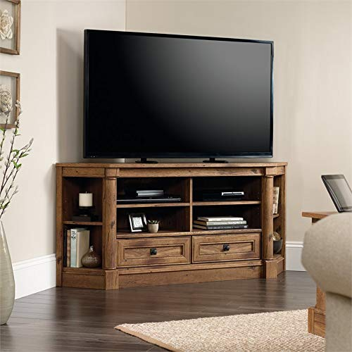 "Pemberly Row Corner Entertainment TV Stand Living Room Storage Media Console with Cord Management, for TV's up to 60"", in Vintage Oak"