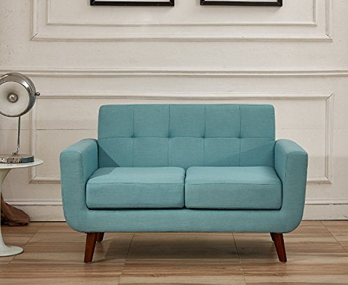 Container Direct Jenny Mid-Century Modern Button Tufted Loveseat, Turquoise