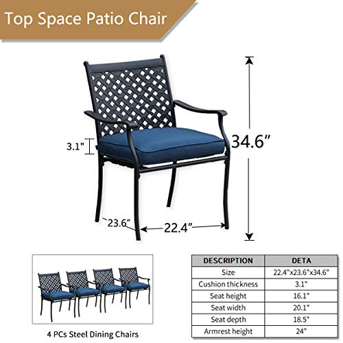 Top Space 4 Piece Metal Outdoor Wrought Iron Patio Furniture,Dinning Chairs Set with Arms and Seat Cushions (4 PC, Blue)