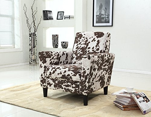 Container Furniture Direct Adair Collection Modern Cowhide Pattern Upholstered Living Room Accent Arm Chair with Back, Brown/Beige