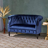 Christopher Knight Home Milani Tufted Scroll Arm Velvet Loveseat, Navy Blue / Dark Brown