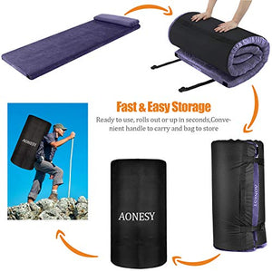"AONESY Sleep Memory Foam Floor Mattress with Pillow, Adult 75""x30""x3"",Portable Sleeping Pad-Roll-Up/Removable/Waterproof Cotton Terry Cover Travel Bag for Camping,Guest Bed,Outdoor Tent"