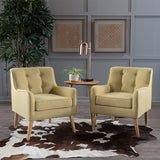 Christopher Knight Home Felicity Mid-Century Fabric Arm Chairs, 2-Pcs Set, Wasabi