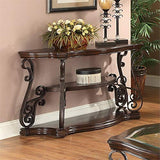 BOWERY HILL Ornate Sofa Table with Tempered Glass Top in Deep Merlot