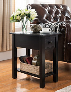 One Source Living Side Table with Charging Station in Black