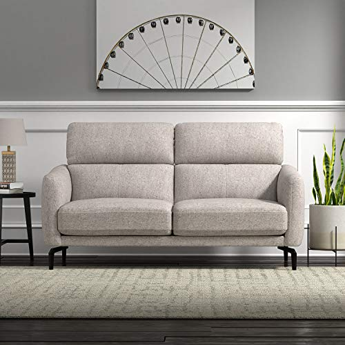 "Amazon Brand �Rivet Kaden Mid-Century Modern Adjustable Headrest Loveseat Sofa, 61.8""W, Light Grey"