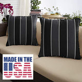 "1101Design Sunbrella Peyton Granite Corded Decorative Indoor/Outdoor Square Throw Pillow, Perfect for Patio Decor - Black Grey Stripe with Silver Grey 24"" (Set of 2)"