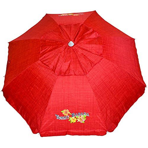 Tommy Bahama Sand Anchor 7 feet Beach Umbrella With Tilt and Telescoping Pole- Red
