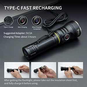 WUBEN A21 4200 High Lumens Flashlight Type C Rechargeable 7 Modes CREE LED IP68 Waterproof Torch with 21700 Battery Included
