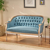 Christopher Knight Home Faye Classical Fabric Tufted Loveseat, Blue / Antique