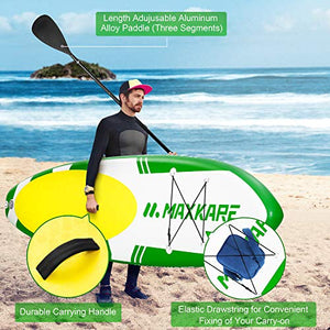 "MaxKare Inflatable Stand Up Paddle Board SUP W Paddle Board Inflatable Accessories Triple Action Pump Premium Backpack Paddle Leash Fishing Yoga 10.6'× 32"" ×6'' Inches Thick Adult Youth Kid"
