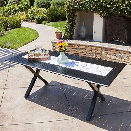 Christopher Knight Home Exuma Outdoor Expandable Cast Aluminum Rectangular Dining Table, Black