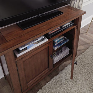 Home Styles Tahoe Aged Maple TV Stand/Media Center with Open Storage, Two Wood Panels Doors, Adjustable Shelves, Adjustable Levelers, and Square Antiqued Bronze Pulls