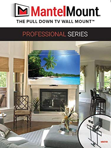 "MantelMount MM700 Pro Fireplace TV Mount Pull Down Bracket for 50""-100"" & 30-115 lb Televisions Above Mantel"