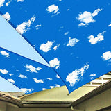 Patio 17' x 17' x 17' Sun Shade Sail Triangle Waterproof Cover Blue Sky White Cloud UV Block Durable Awning Canopy Outdoor Garden Backyard Deck