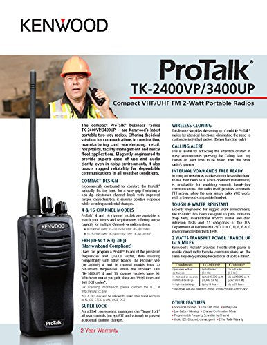 Kenwood ProTalk TK-3400U4P Compact UHF FM Portable 2-Way Radio (Pack of 6), 4 Total Channels, 2.0 Watt Output Power, 250000 Sq. Ft. / 20 Floor / 6 Mile Range, 90 UHF Business Frequencies