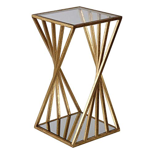 MY SWANKY HOME Gold Angle Geometric Square Accent Table | Open Pedestal Column Modern
