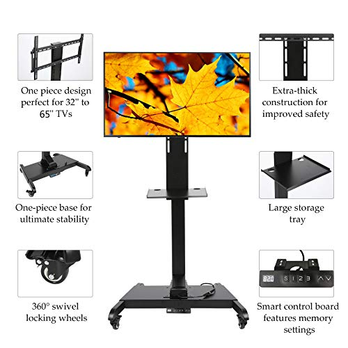 CO-Z Mobile Motorized TV Lift Floor Stands Rolling TV Carts for Flat Screen 32 to 65 Inches TVs with Wheels Shelves Height Adjustable with Remote Controller (Motorized Lift for 32 to 65 Inches TVs)