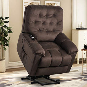 Lift Chairs for Elderly , Reclining Chair Sofa Electric Recliner Chairs with Remote Control Soft Fabric Lounge