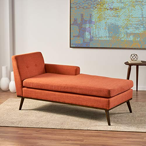 Christopher Knight Home Stormi Mid-Century Modern Fabric Chaise Lounge, Muted Orange / Walnut