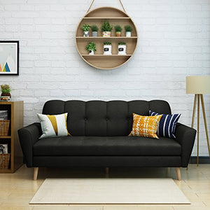 Christopher Knight Home Treston Mid-Century Fabric Sofa, Black / Natural