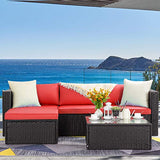 LEMBERI 5 Pieces Outdoor Furniture Patio Conversation Sets, All Weather Wicker Sectional Sofa Couch Lawn Sectional Furniture with Washable Couch Cushions and Glass Table(Red/Black)