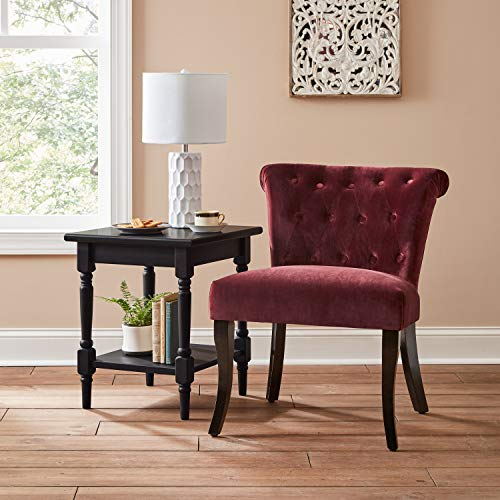 "Amazon Brand – Ravenna Home Tufted Armless English Roll Traditional Accent Chair, 26.8""W, Merlot Red"