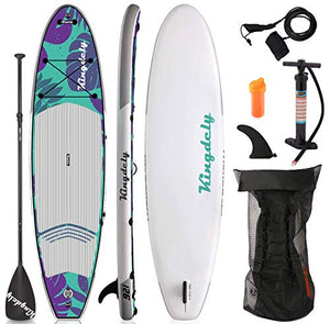 Kingdely Inflatable Stand Up Paddle Board, 10'6 x 6''x 31'', Comes with Durable SUP Accessories & Portable Carry Bag, Non-Slip Deck, Leash, Paddle and Pump, Standing Boat for Youth & Adult (Leaf)