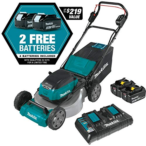"Makita XML07PT1 (36V) LXT Lithium‑Ion Brushless Cordless (5.0Ah) 18V X2 21"" Lawn Mower Kit with 4 Batteries, Teal"