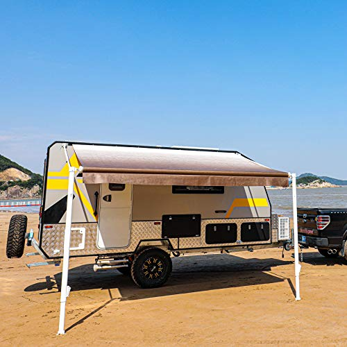 ALEKO Manual Retractable RV Trailer Awning for Home or Camper- 8x8 Ft - Brown Fade